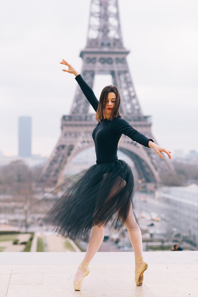 Photo by Carolline De Souza from Pexels . https://www.pexels.com/photo/woman-dancing-ballet-in-front-of-eiffel-tower-1929039/